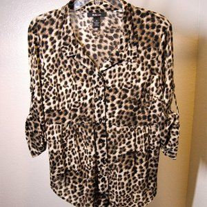 Style&Co.Animal Print 3/4 Sleeve Blouse
